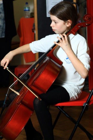 Working at cello